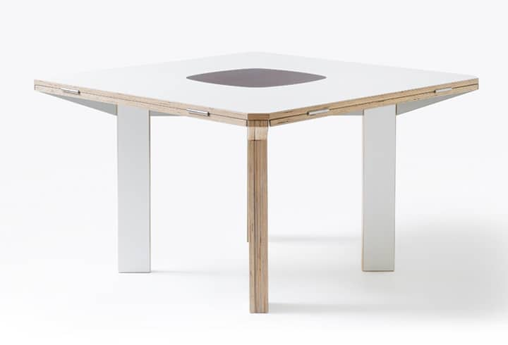 The Gironde Extendible Table Is As Much Art As Furniture. The Tabletop  Begins As A Rhombus; Fold Out The Triangular Leaves And It Becomes A Square  Than Can ...