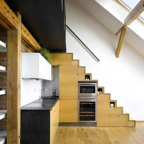 Staircase-with-built-in-kitchen-appliances