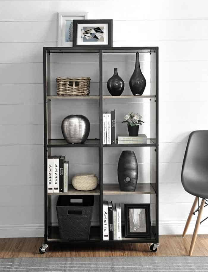 Mobile bookcase for studio or space conscious home
