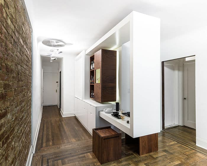Partywall convertible home bar transforms small apartment for Small bar for apartment