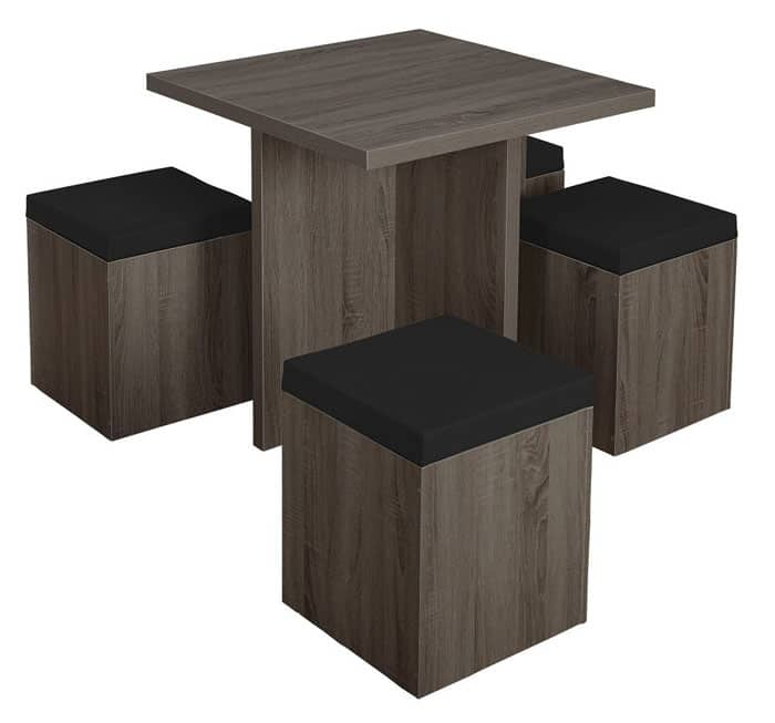 5-Piece Dining Set with Storage Ottomans