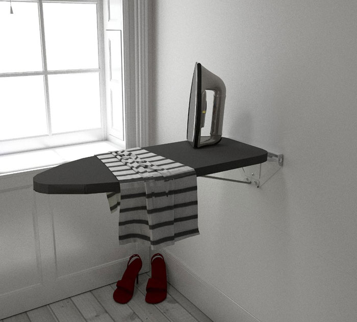 folding furniture for small spaces. 3. Wall Mounted Ironing Board Folding Furniture For Small Spaces