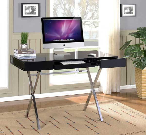Donu0027t Be Fooled By Those Skinny Legs U2013 This Desk Is As Sturdy As A Rock.  With A White Lacquer Finish On Shiny Chrome Legs, This Modern Office Desk  Is ...