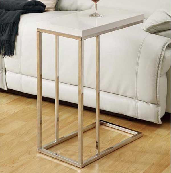 Slide under sofa table slide under sofa snack table ebay for Side table for sectional sofa