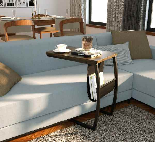 30 Modern Slide Under The Sofa Side Tables Vurni - Sofa Side Table With Cup Holder