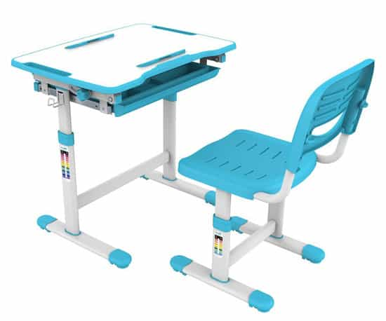 Both The Desk And Chair Have Adjustable Height, And The Desktop Can Be  Lifted From Totally Flat To 40 Degrees. Kids Can Use The Desk Standing Or  Seated, ...
