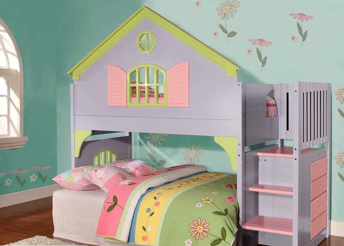 What I Wouldnu0027t Have Given To Have This As A Kid! Two Childrensu0027 Bunks Make  Up The Twin Doll House Bunk Bed. A Fun, Feminine Array Of Pastel Colors  Create ...