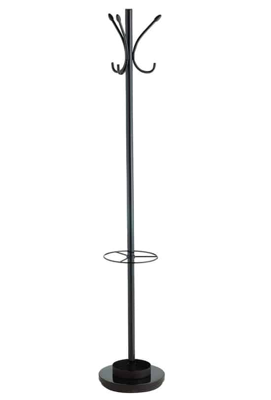The Adesso Coat Rack And Umbrella Stand Is A Sleek Steel Sturdy With Wood Accents There Are Six Hooks Tray On Base For