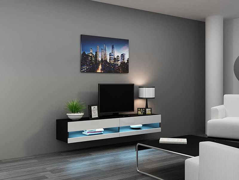 The Concept Muebles Floating Tv Stand Is A Thing Of Beauty Sleek And Efficient It Seems To Hover In Place Soft Led Lights Glowing As Illuminates Your